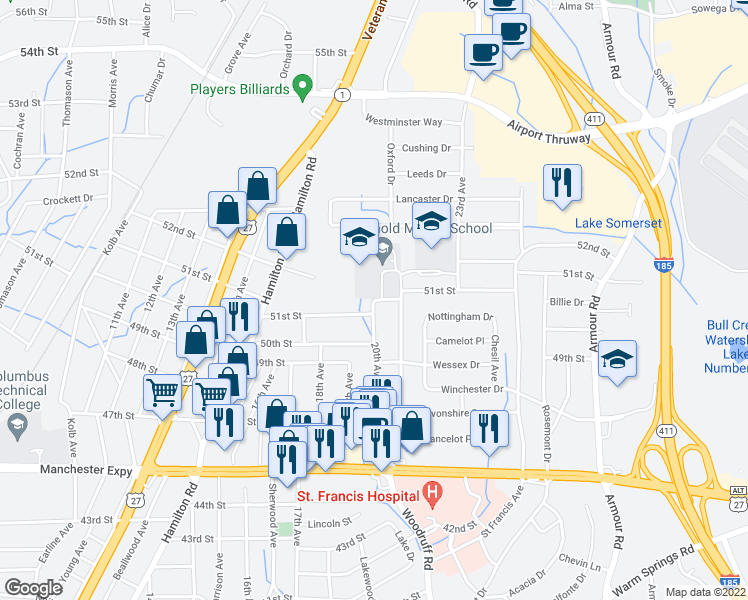 map of restaurants, bars, coffee shops, grocery stores, and more near 5018 20th Ave in Columbus