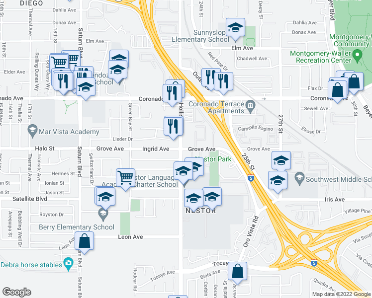 map of restaurants, bars, coffee shops, grocery stores, and more near 1325 Hollister Street in San Diego