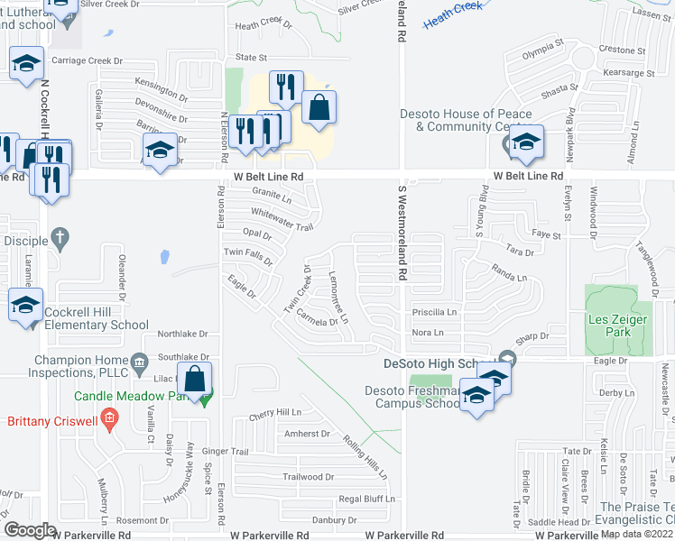 map of restaurants, bars, coffee shops, grocery stores, and more near 208-212 Lemontree Lane in DeSoto