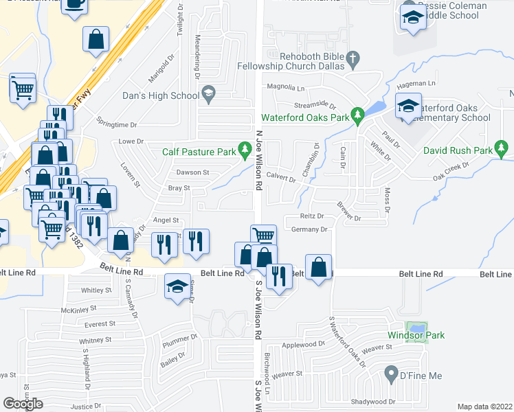 map of restaurants, bars, coffee shops, grocery stores, and more near 315-383 Joe Wilson Rd in Cedar Hill