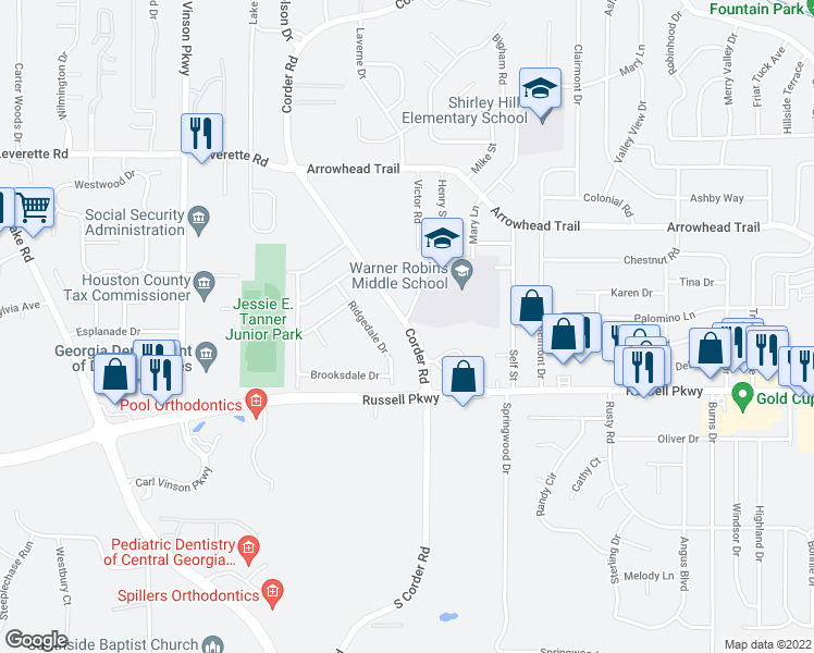 map of restaurants, bars, coffee shops, grocery stores, and more near 1303 Corder Road in Warner Robins