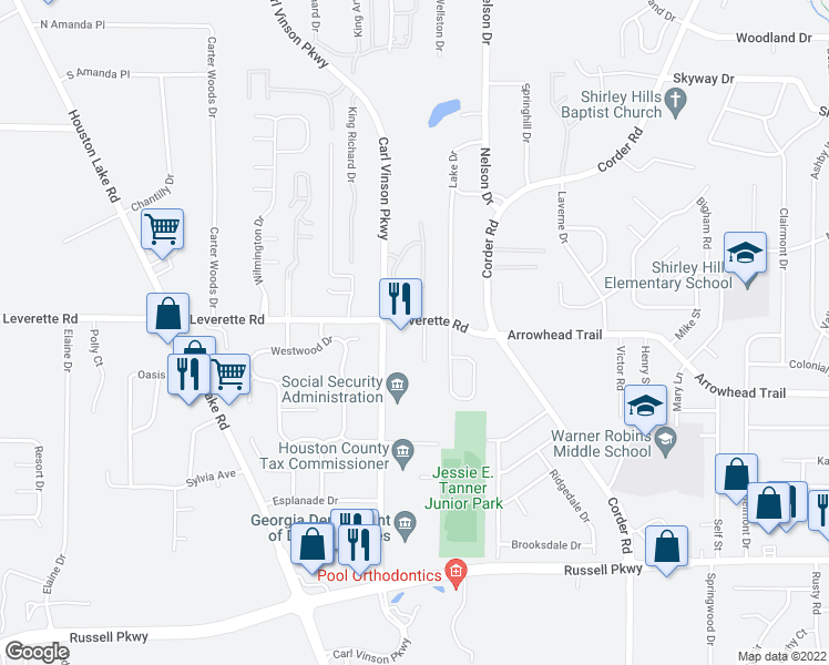 map of restaurants, bars, coffee shops, grocery stores, and more near 221 Everett Square in Warner Robins