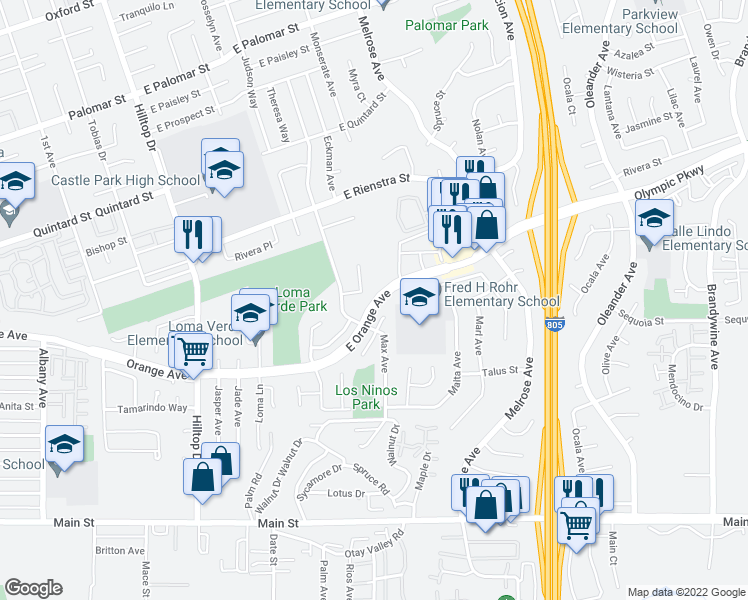 map of restaurants, bars, coffee shops, grocery stores, and more near 153 Rainier Ct in Chula Vista