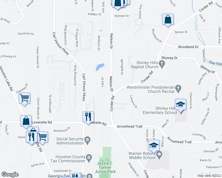 map of restaurants, bars, coffee shops, grocery stores, and more near 508 Nelson Drive in Warner Robins