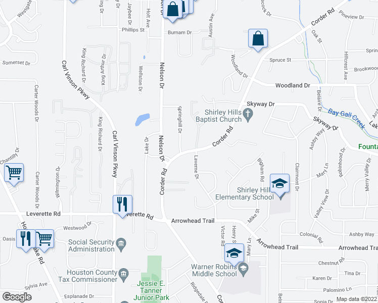 map of restaurants, bars, coffee shops, grocery stores, and more near 104-106 Springhill Dr in Warner Robins