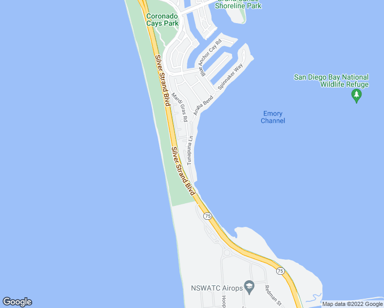 map of restaurants, bars, coffee shops, grocery stores, and more near 26 South Cays Court in Coronado