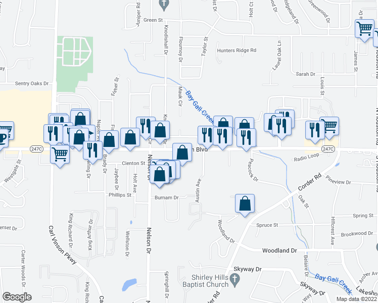 map of restaurants, bars, coffee shops, grocery stores, and more near 2191 Watson Blvd in Warner Robins