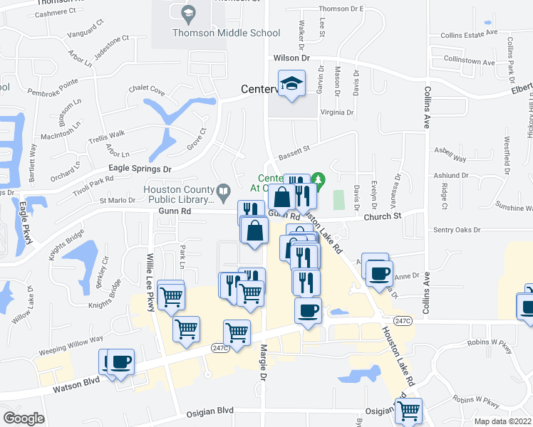 map of restaurants, bars, coffee shops, grocery stores, and more near 96 Margie Drive in Centerville