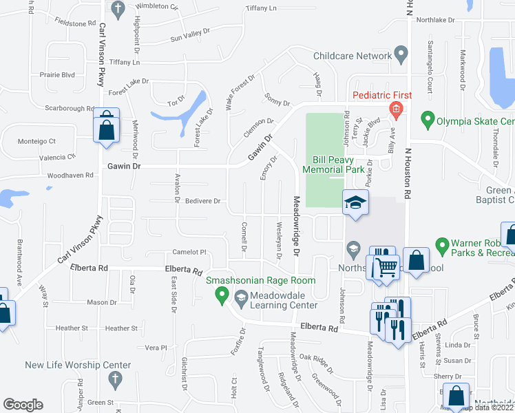 map of restaurants, bars, coffee shops, grocery stores, and more near 302 Emory Drive in Warner Robins