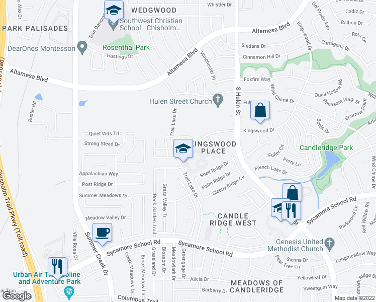 map of restaurants, bars, coffee shops, grocery stores, and more near 7310-7320 Kingswood Drive in Fort Worth