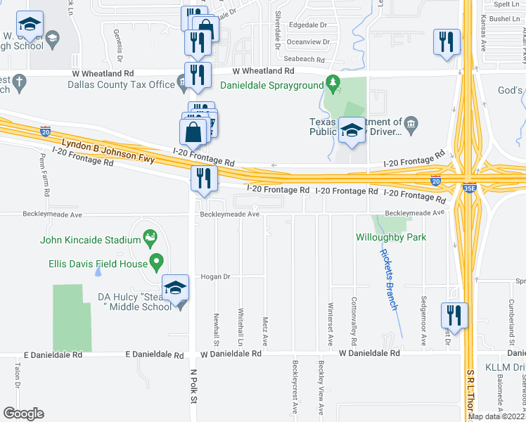 map of restaurants, bars, coffee shops, grocery stores, and more near 8908 Metz Ave in Dallas