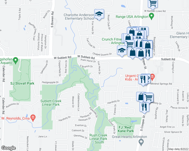 map of restaurants, bars, coffee shops, grocery stores, and more near 2208 Branchwood Dr in Arlington