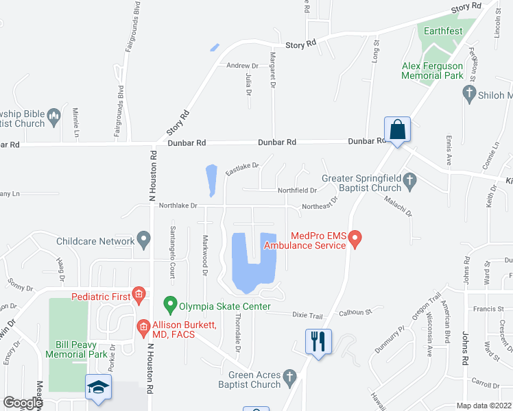 map of restaurants, bars, coffee shops, grocery stores, and more near 226 Northlake Drive in Warner Robins