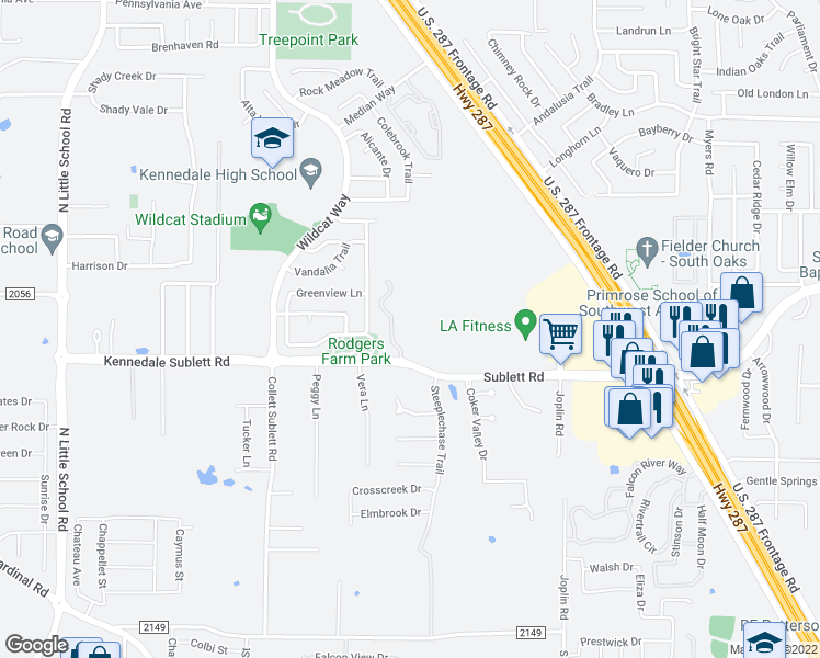 map of restaurants, bars, coffee shops, grocery stores, and more near 1245 Kennedale Sublett Road in Kennedale