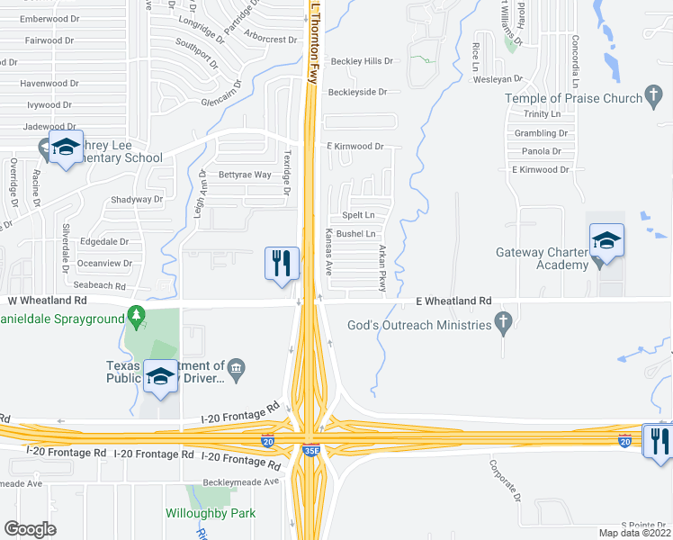 map of restaurants, bars, coffee shops, grocery stores, and more near 107 Idlewheat Ln in Dallas