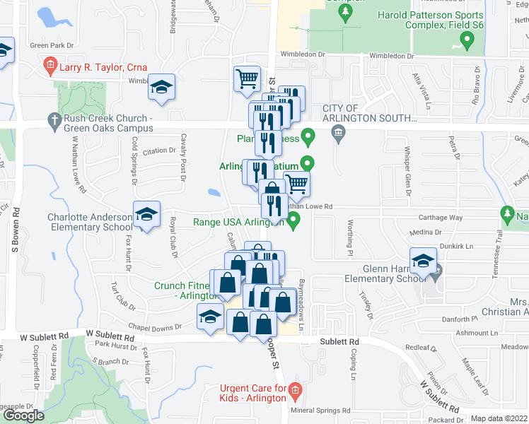 map of restaurants, bars, coffee shops, grocery stores, and more near 5601 South Cooper Street in Arlington