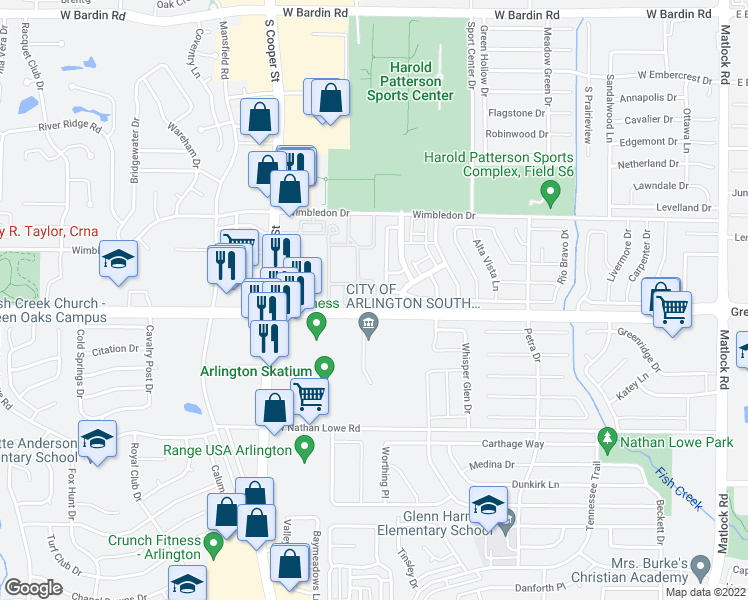 map of restaurants, bars, coffee shops, grocery stores, and more near 1040-1068 Southwest Green Oaks Boulevard in Arlington