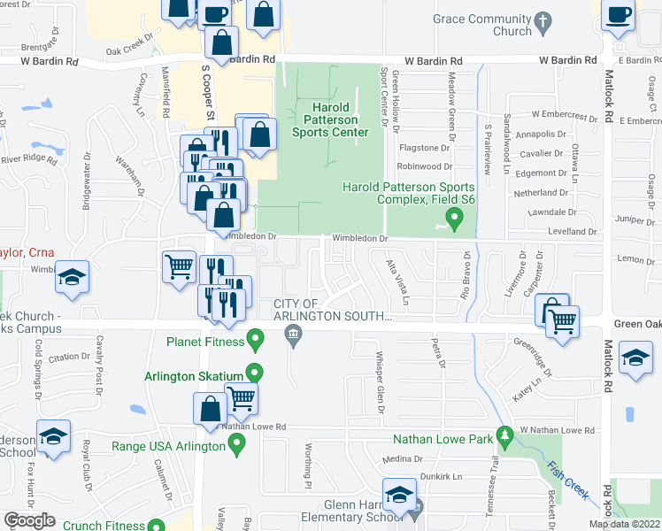 map of restaurants, bars, coffee shops, grocery stores, and more near 5223 Camino Verdes Blvd in Arlington