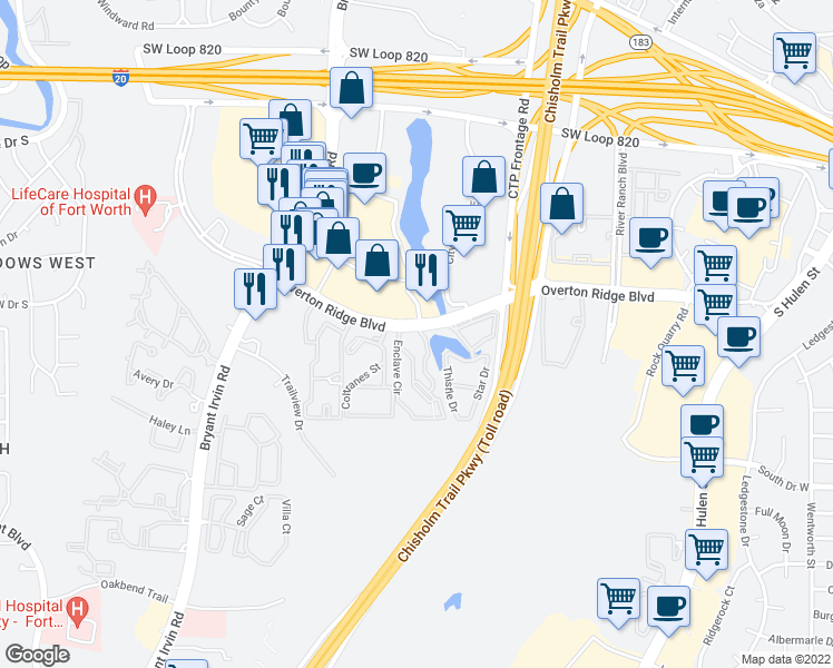 map of restaurants, bars, coffee shops, grocery stores, and more near 5450 Overton Ridge Boulevard in Fort Worth