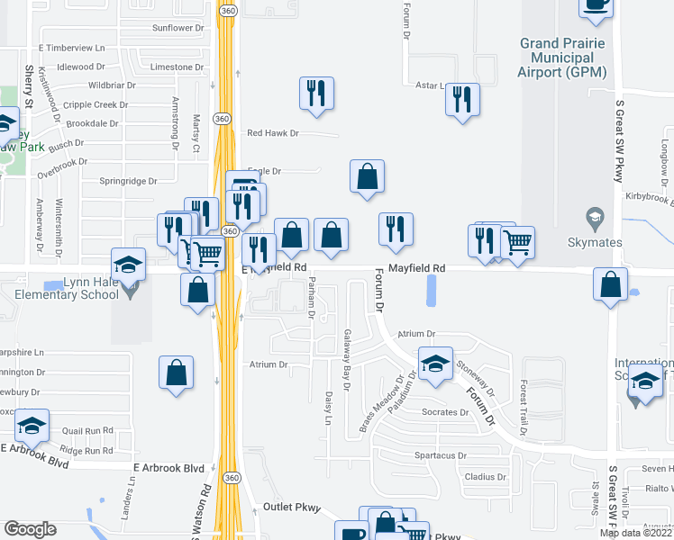 map of restaurants, bars, coffee shops, grocery stores, and more near 3301 Galaway Bay Dr in Grand Prairie