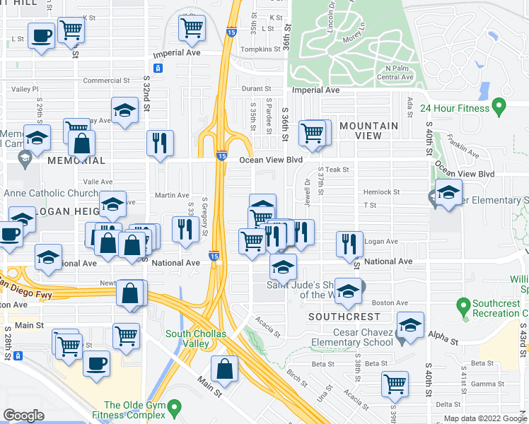 map of restaurants, bars, coffee shops, grocery stores, and more near 701 South 35th Street in San Diego