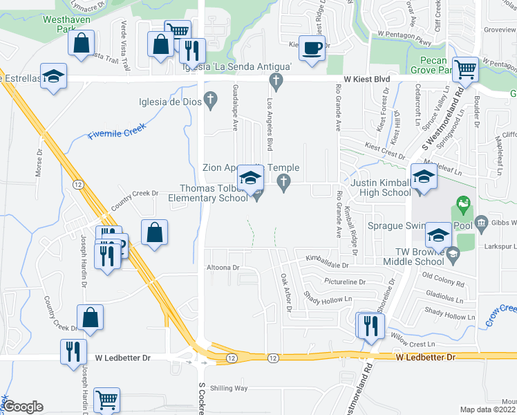 map of restaurants, bars, coffee shops, grocery stores, and more near 4000 Blue Ridge Blvd in Dallas