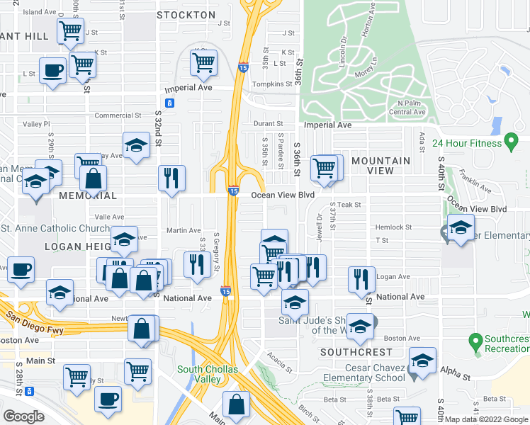 map of restaurants, bars, coffee shops, grocery stores, and more near S 35th St & Valle Ave in San Diego