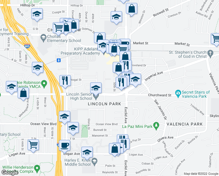 map of restaurants, bars, coffee shops, grocery stores, and more near 120 50th St in San Diego