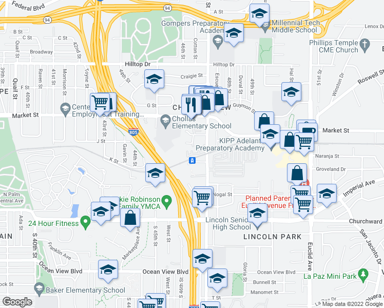 map of restaurants, bars, coffee shops, grocery stores, and more near 391 46th St in San Diego