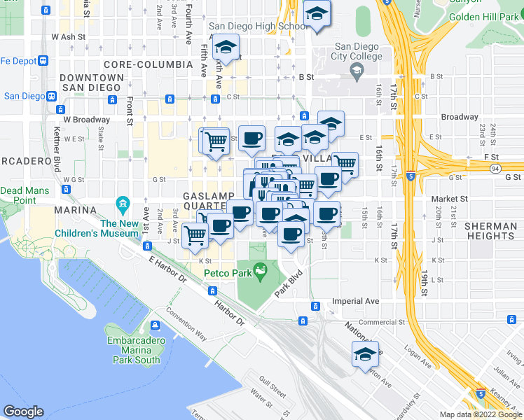 map of restaurants, bars, coffee shops, grocery stores, and more near 540 9th Avenue in San Diego