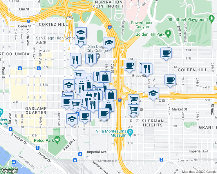 map of restaurants, bars, coffee shops, grocery stores, and more near 901-999 17th St in San Diego