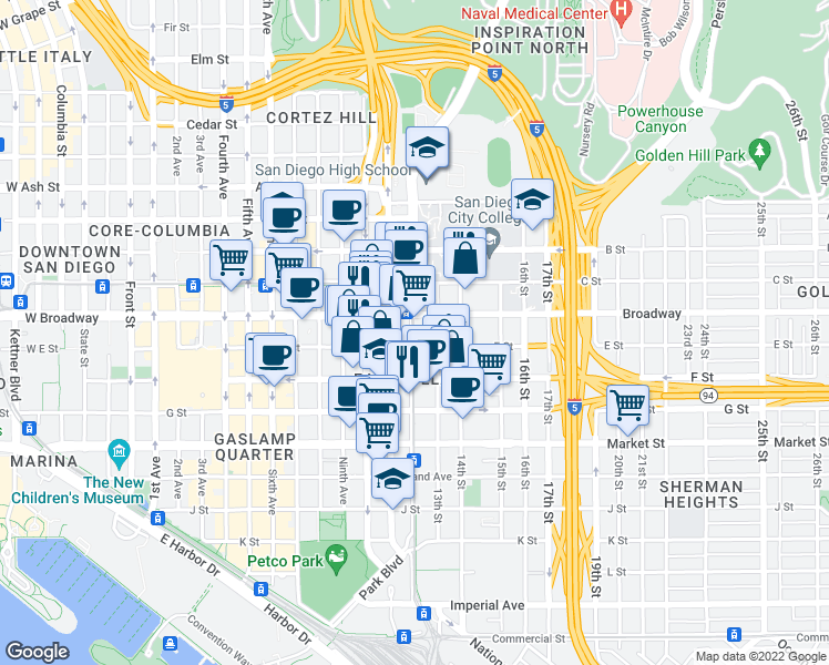 map of restaurants, bars, coffee shops, grocery stores, and more near 900-998 13th Street in San Diego