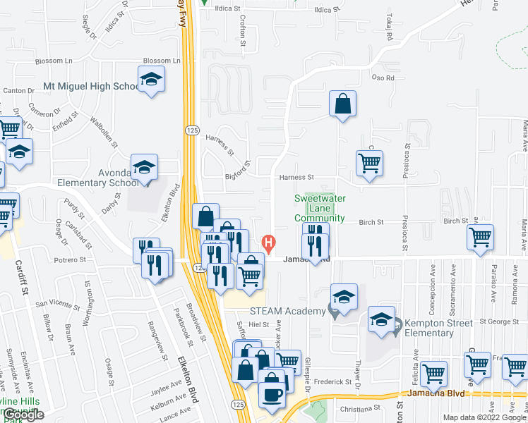 map of restaurants, bars, coffee shops, grocery stores, and more near 8768 Jamacha Rd in Spring Valley