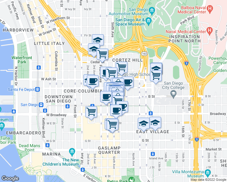 map of restaurants, bars, coffee shops, grocery stores, and more near K Street in San Diego