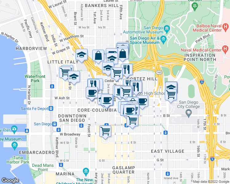 map of restaurants, bars, coffee shops, grocery stores, and more near 1465 4th Ave in San Diego