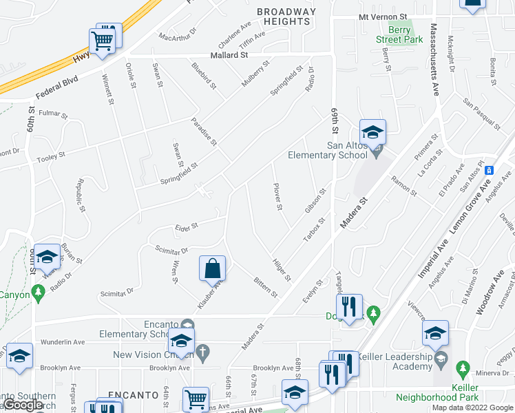 map of restaurants, bars, coffee shops, grocery stores, and more near 1567 Hilger St in San Diego