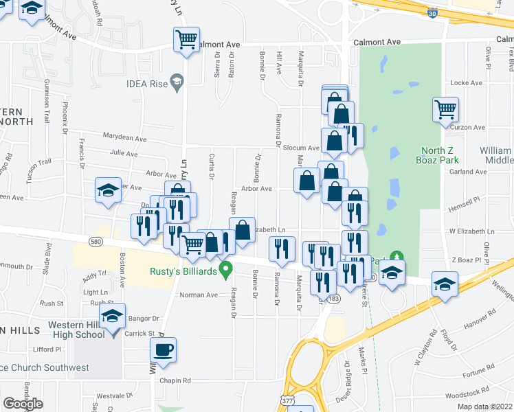 map of restaurants, bars, coffee shops, grocery stores, and more near 3217 Bonnie Drive in Fort Worth
