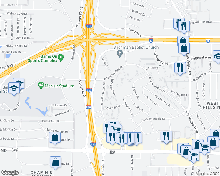 map of restaurants, bars, coffee shops, grocery stores, and more near 2906-2958 Meadowglen Circle in Fort Worth