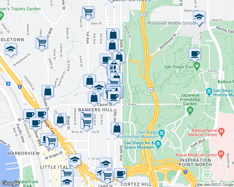 map of restaurants, bars, coffee shops, grocery stores, and more near 2601 5th Ave in San Diego