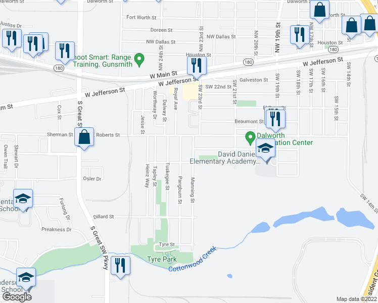 map of restaurants, bars, coffee shops, grocery stores, and more near 710 Manning St in Grand Prairie