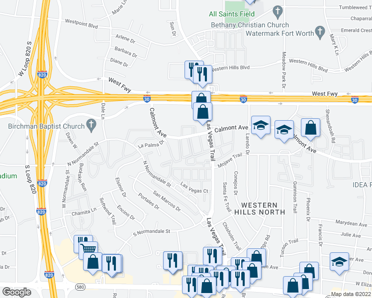 map of restaurants, bars, coffee shops, grocery stores, and more near Hammock in Fort Worth