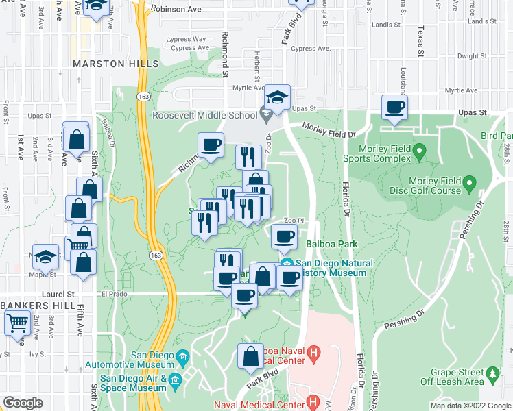map of restaurants, bars, coffee shops, grocery stores, and more near 2920 Zoo Dr in San Diego