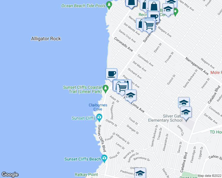 map of restaurants, bars, coffee shops, grocery stores, and more near 1371 Sunset Cliffs Blvd in San Diego