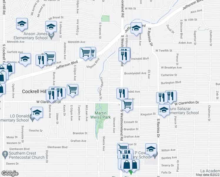 map of restaurants, bars, coffee shops, grocery stores, and more near 3340 Burlingdell Ave in Dallas