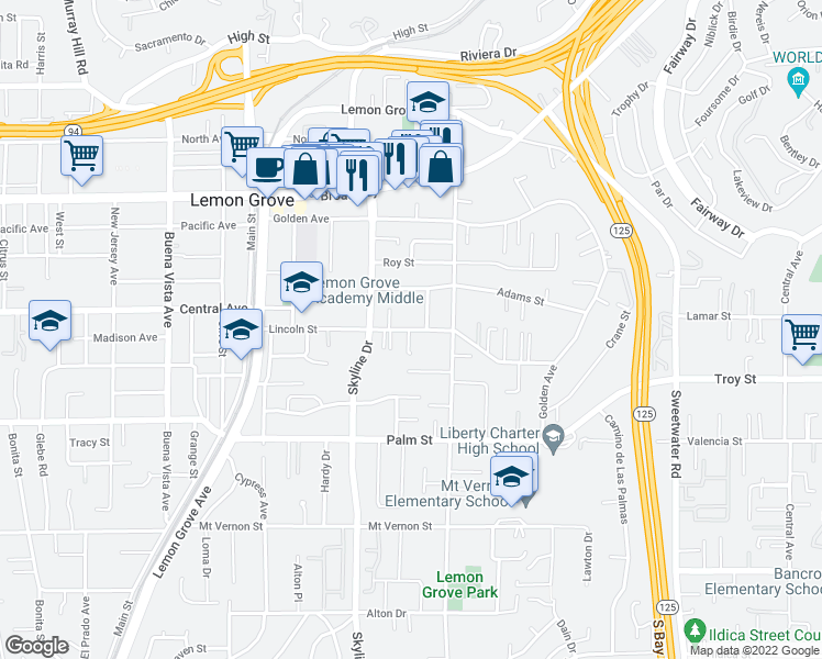 map of restaurants, bars, coffee shops, grocery stores, and more near Lincoln St in Lemon Grove