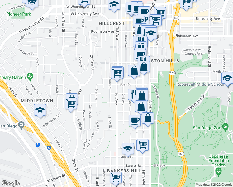 map of restaurants, bars, coffee shops, grocery stores, and more near W Thorn St & Thorn St in San Diego