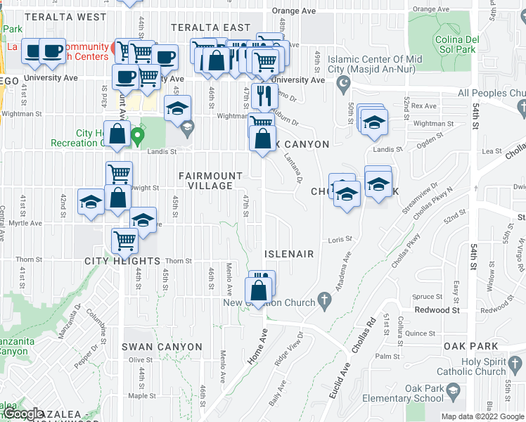 map of restaurants, bars, coffee shops, grocery stores, and more near 3540 Euclid Avenue in San Diego