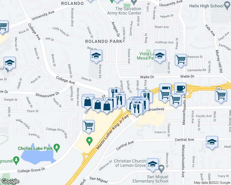 map of restaurants, bars, coffee shops, grocery stores, and more near Nassau Dr in San Diego