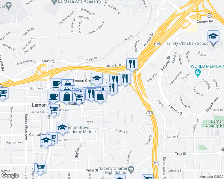 map of restaurants, bars, coffee shops, grocery stores, and more near 8301-8321 Lemon Grove Way in Lemon Grove