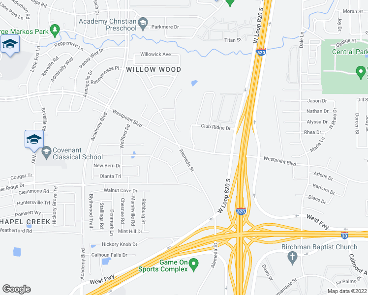 map of restaurants, bars, coffee shops, grocery stores, and more near 1200 Scenic Vista Drive in Fort Worth